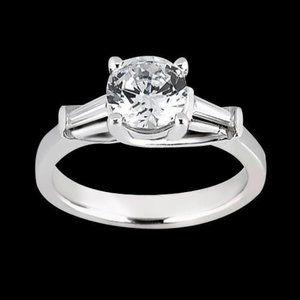 1.27 carat Round & baguette diamonds three stone r
